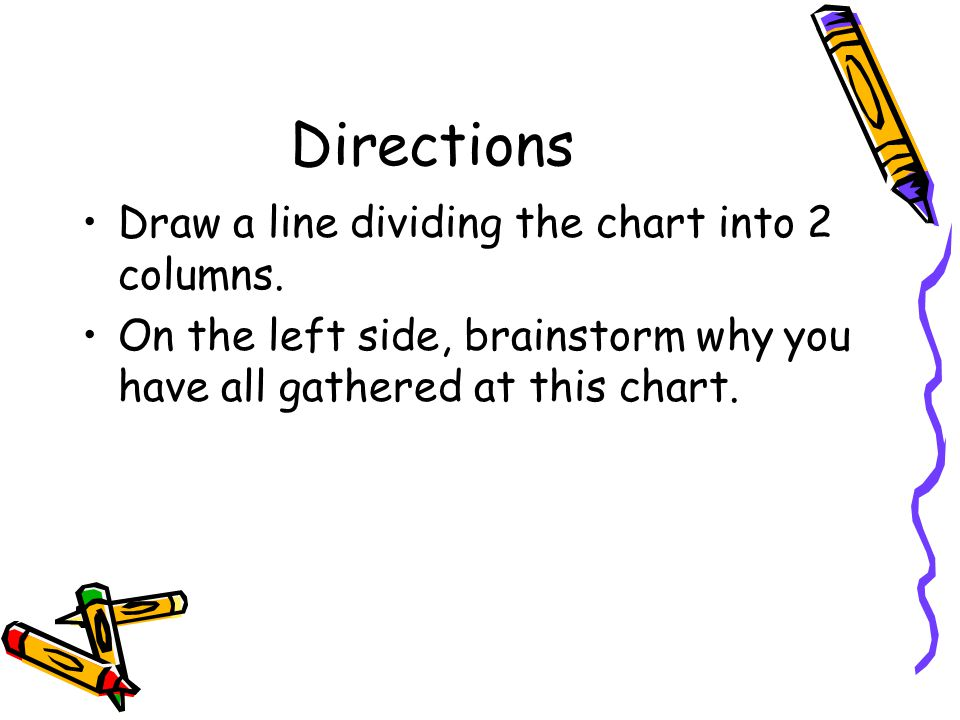 Directions Draw a line dividing the chart into 2 columns. On the left side, brainstorm why you have all gathered at this chart.