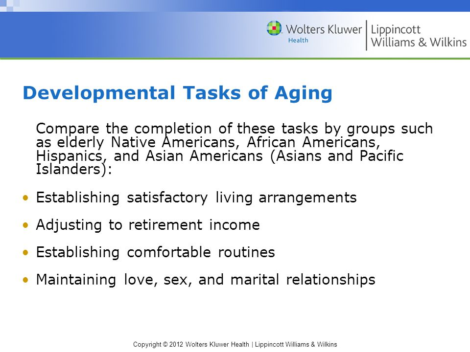 Copyright © 2012 Wolters Kluwer Health | Lippincott Williams & Wilkins Developmental Tasks of Aging Compare the completion of these tasks by groups su