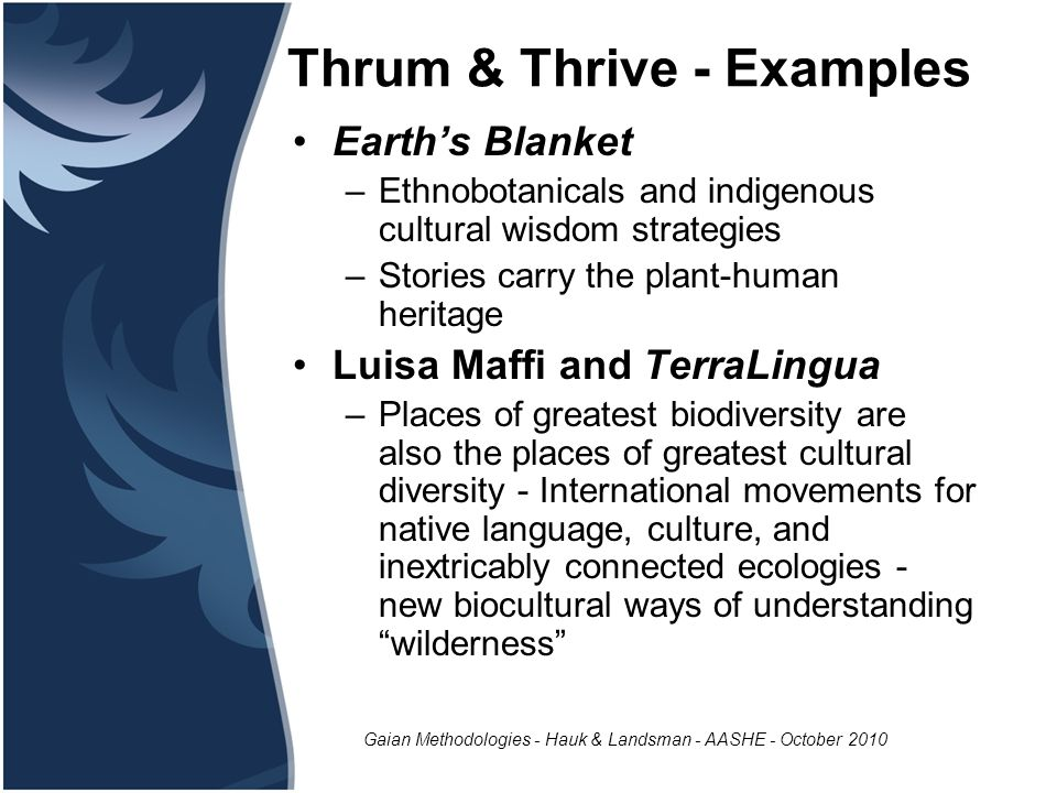 Gaian Methodologies - Hauk & Landsman - AASHE - October 2010 Thrum & Thrive - Examples Earth's Blanket –Ethnobotanicals and indigenous cultural wisdom