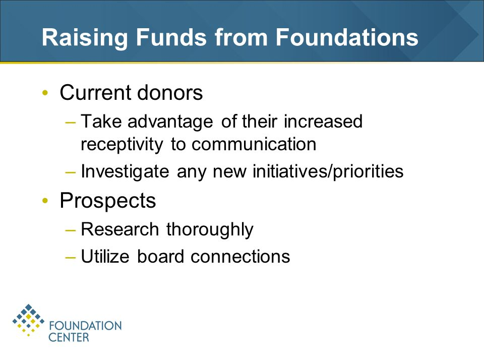 Raising Funds from Foundations Current donors –Take advantage of their increased receptivity to communication –Investigate any new initiatives/priorities Prospects –Research thoroughly –Utilize board connections