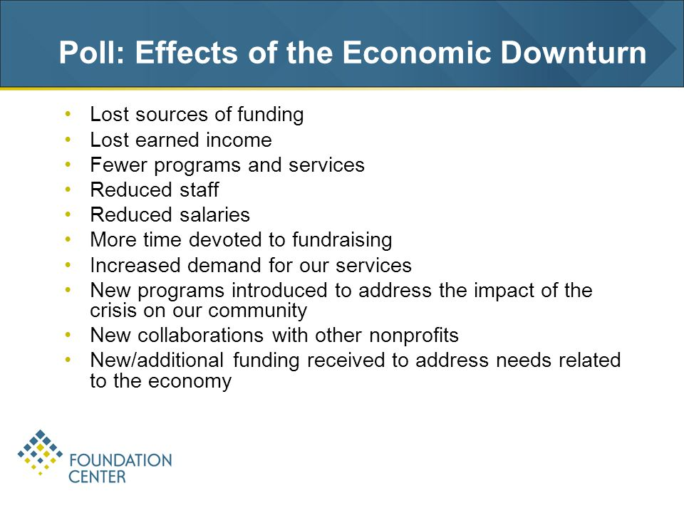Poll: Effects of the Economic Downturn Lost sources of funding Lost earned income Fewer programs and services Reduced staff Reduced salaries More time devoted to fundraising Increased demand for our services New programs introduced to address the impact of the crisis on our community New collaborations with other nonprofits New/additional funding received to address needs related to the economy