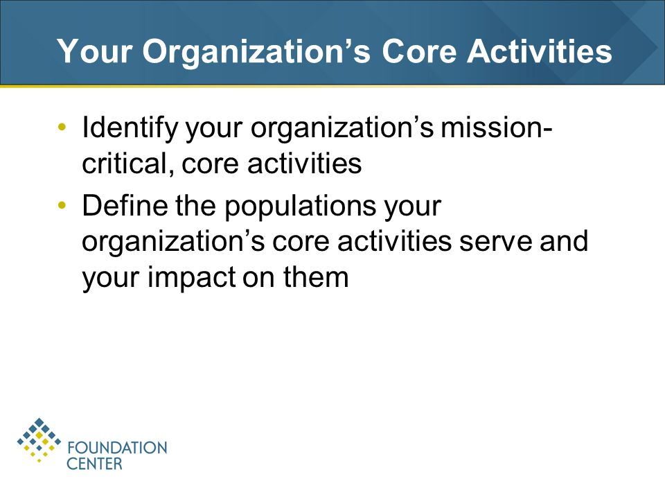 Your Organization's Core Activities Identify your organization's mission- critical, core activities Define the populations your organization's core activities serve and your impact on them