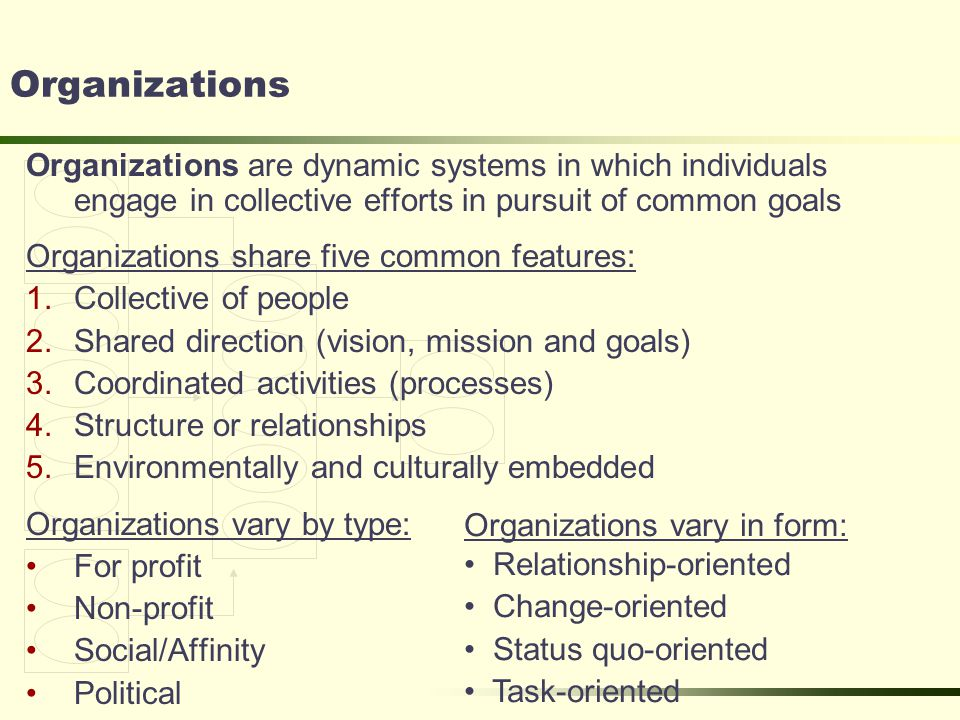 Organizations Organizations are dynamic systems in which individuals engage in collective efforts in pursuit of common goals Organizations share five