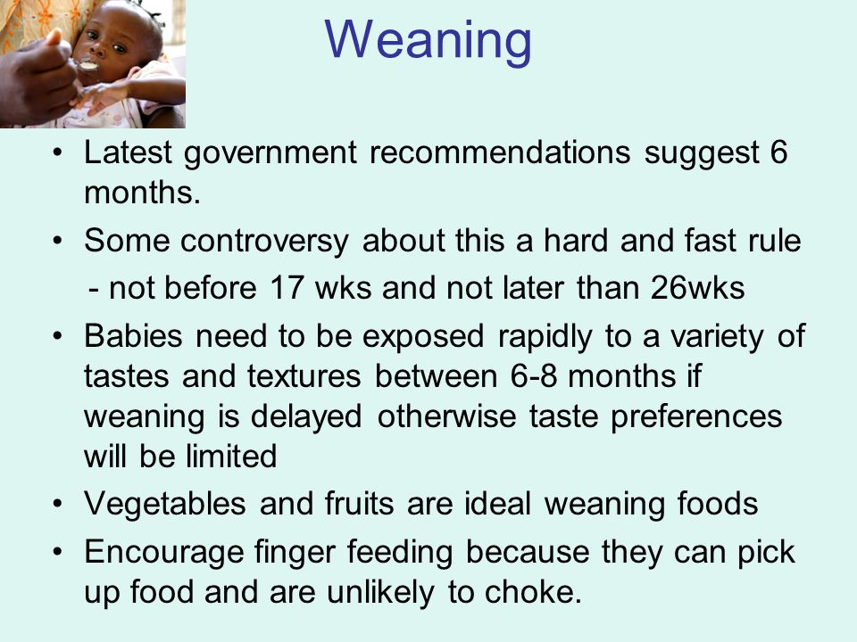 Weaning Latest government recommendations suggest 6 months. Some controversy about this a hard and fast rule - not before 17 wks and not later than 26