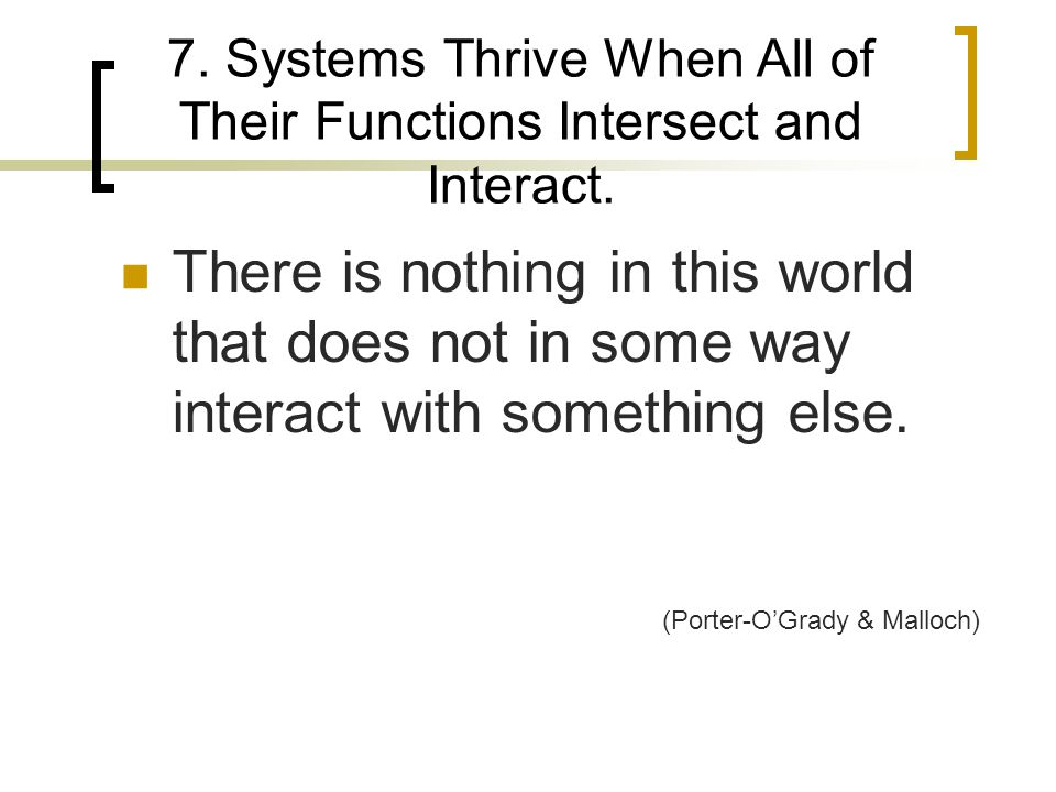 7.Systems Thrive When All of Their Functions Intersect and Interact.
