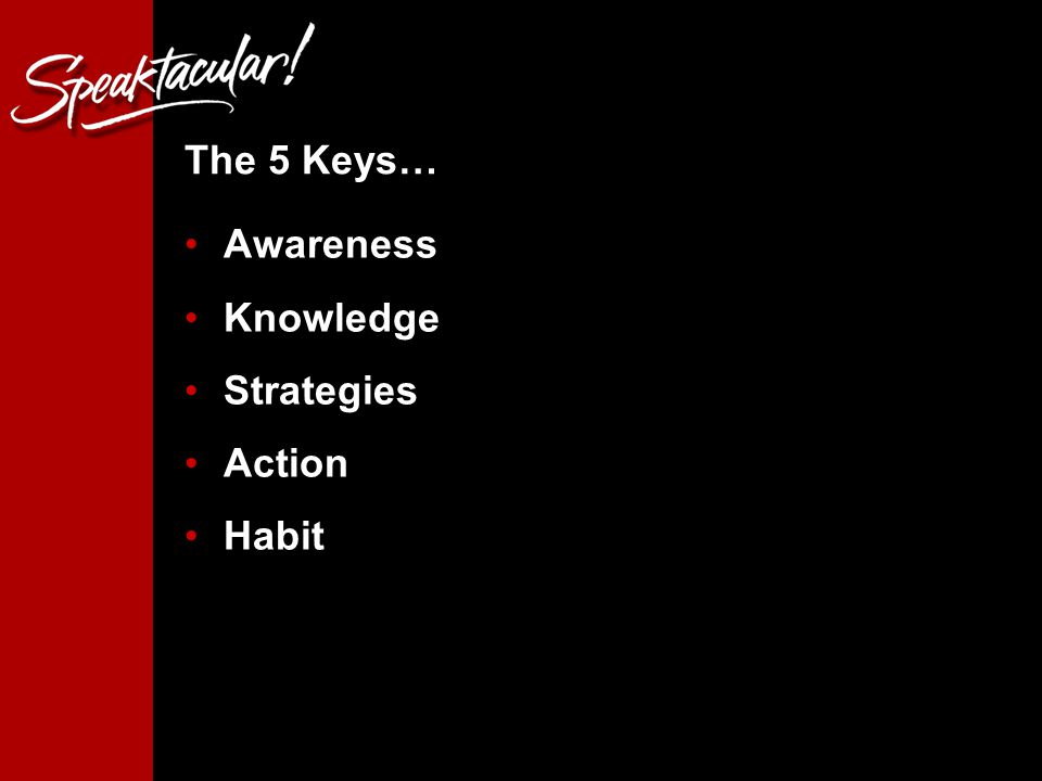 3 The 5 Keys… Awareness Knowledge Strategies Action Habit