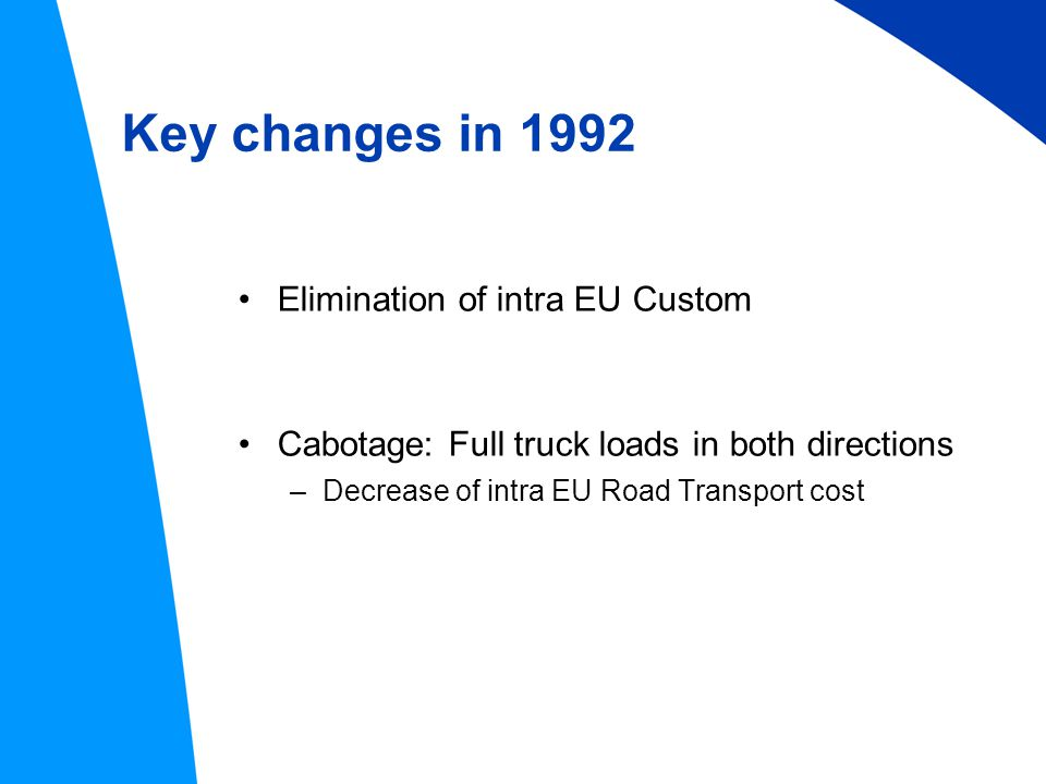 Key changes in 1992 Elimination of intra EU Custom Cabotage: Full truck loads in both directions –Decrease of intra EU Road Transport cost