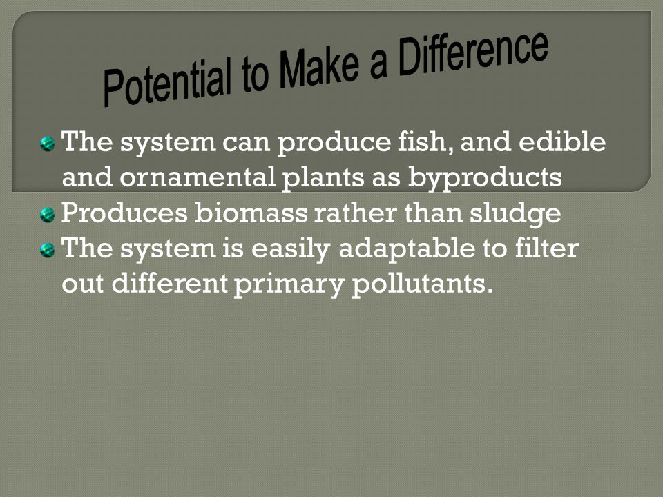 The system can produce fish, and edible and ornamental plants as byproducts Produces biomass rather than sludge The system is easily adaptable to filter out different primary pollutants.