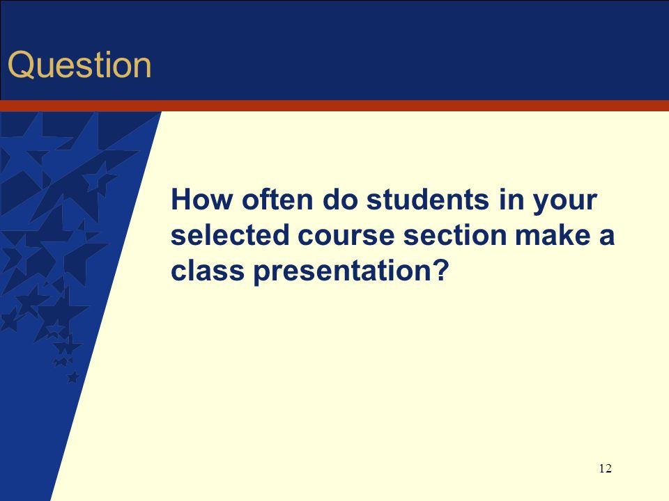 12 Question How often do students in your selected course section make a class presentation?