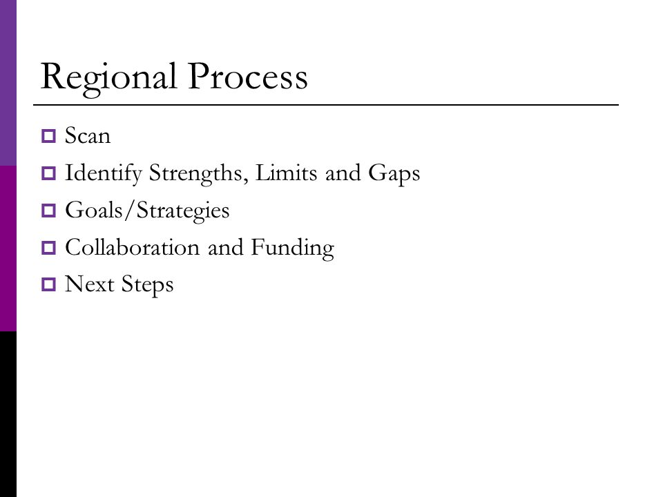 Regional Process  Scan  Identify Strengths, Limits and Gaps  Goals/Strategies  Collaboration and Funding  Next Steps