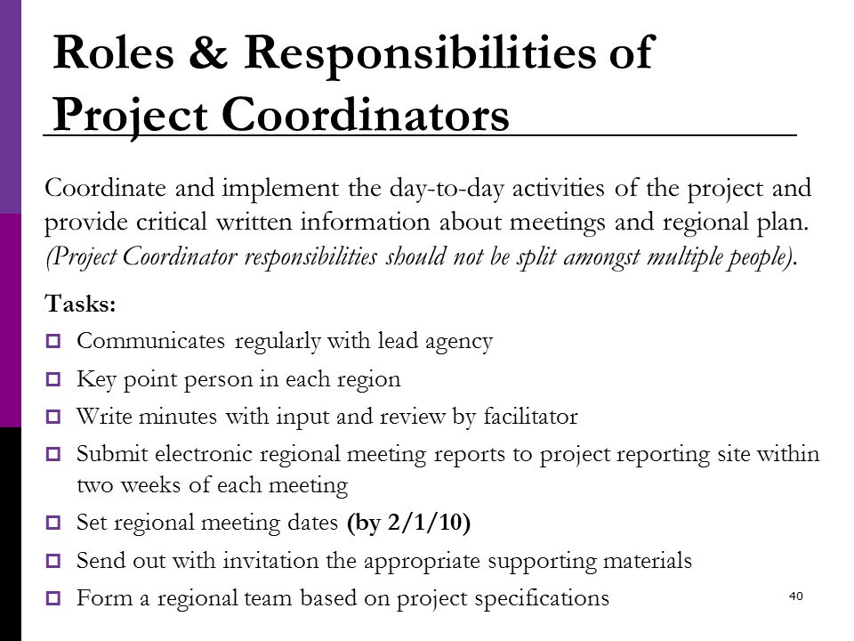 Roles & Responsibilities of Project Coordinators Coordinate and implement the day-to-day activities of the project and provide critical written information about meetings and regional plan.