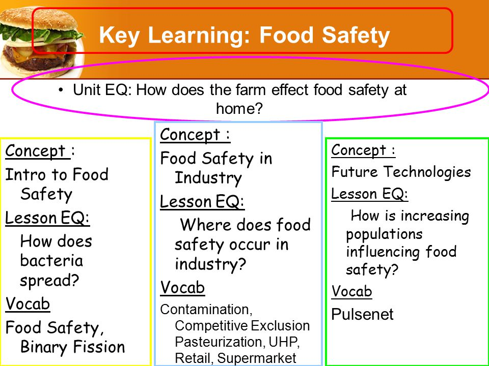 Key Learning: Food Safety Unit EQ: How does the farm effect food safety at home.