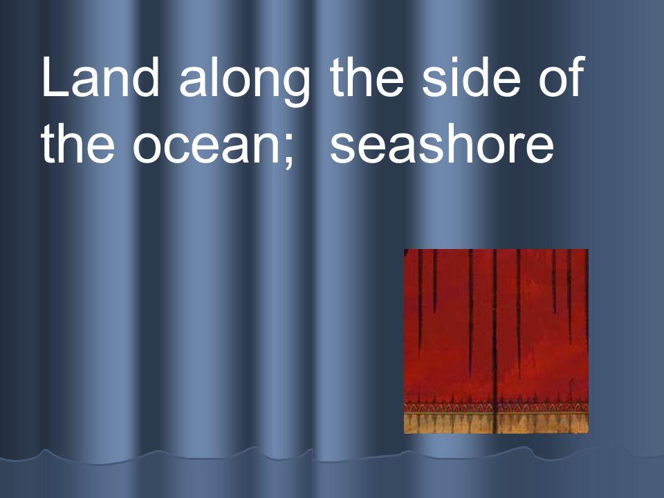 Coast Land along the side of the ocean; seashore