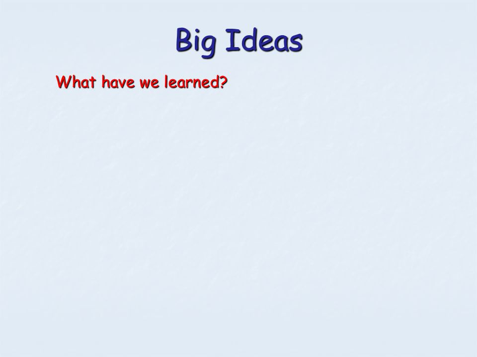 Big Ideas What have we learned?