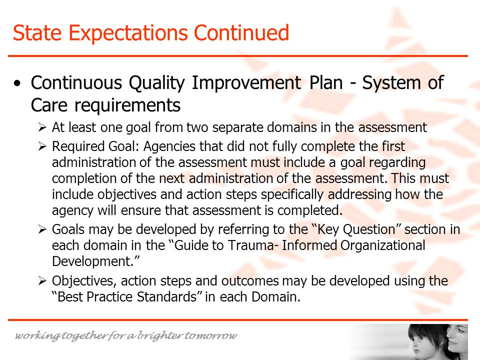 working together for a brighter tomorrow State Expectations Continued Continuous Quality Improvement Plan - System of Care requirements  At least one