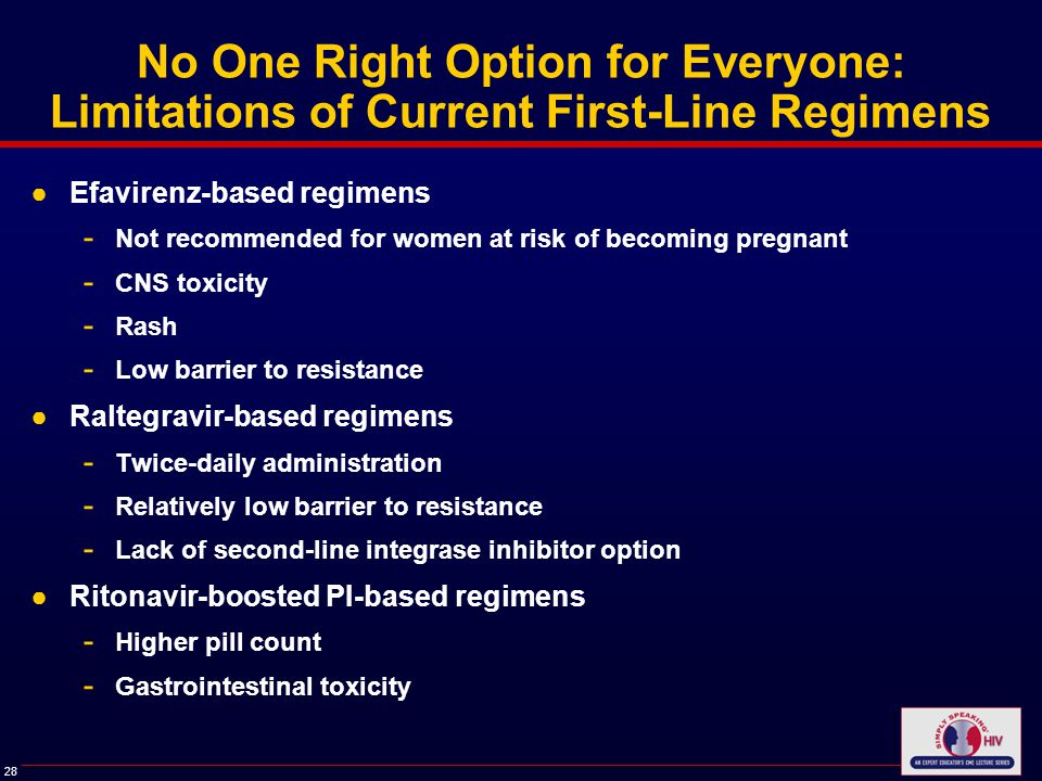 28 No One Right Option for Everyone: Limitations of Current First-Line Regimens ●Efavirenz-based regimens - Not recommended for women at risk of becoming pregnant - CNS toxicity - Rash - Low barrier to resistance ●Raltegravir-based regimens - Twice-daily administration - Relatively low barrier to resistance - Lack of second-line integrase inhibitor option ●Ritonavir-boosted PI-based regimens - Higher pill count - Gastrointestinal toxicity