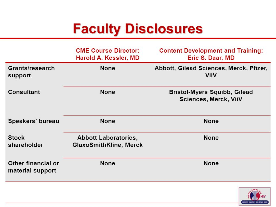 6 Faculty Disclosures CME Course Director: Harold A.