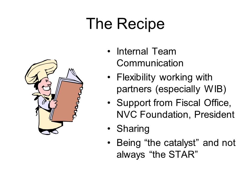 The Recipe Internal Team Communication Flexibility working with partners (especially WIB) Support from Fiscal Office, NVC Foundation, President Sharing Being the catalyst and not always the STAR