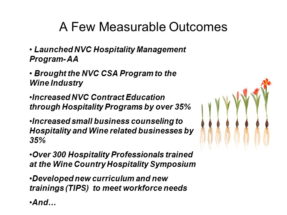 A Few Measurable Outcomes Launched NVC Hospitality Management Program- AA Brought the NVC CSA Program to the Wine Industry Increased NVC Contract Education through Hospitality Programs by over 35% Increased small business counseling to Hospitality and Wine related businesses by 35% Over 300 Hospitality Professionals trained at the Wine Country Hospitality Symposium Developed new curriculum and new trainings (TIPS) to meet workforce needs And…