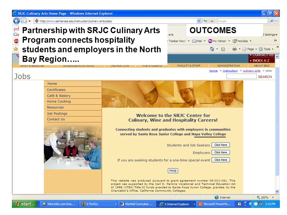 Outcomes OUTCOMESPartnership with SRJC Culinary Arts Program connects hospitality students and employers in the North Bay Region…..