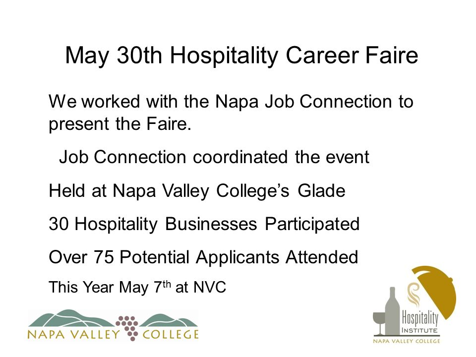 May 30th Hospitality Career Faire We worked with the Napa Job Connection to present the Faire.