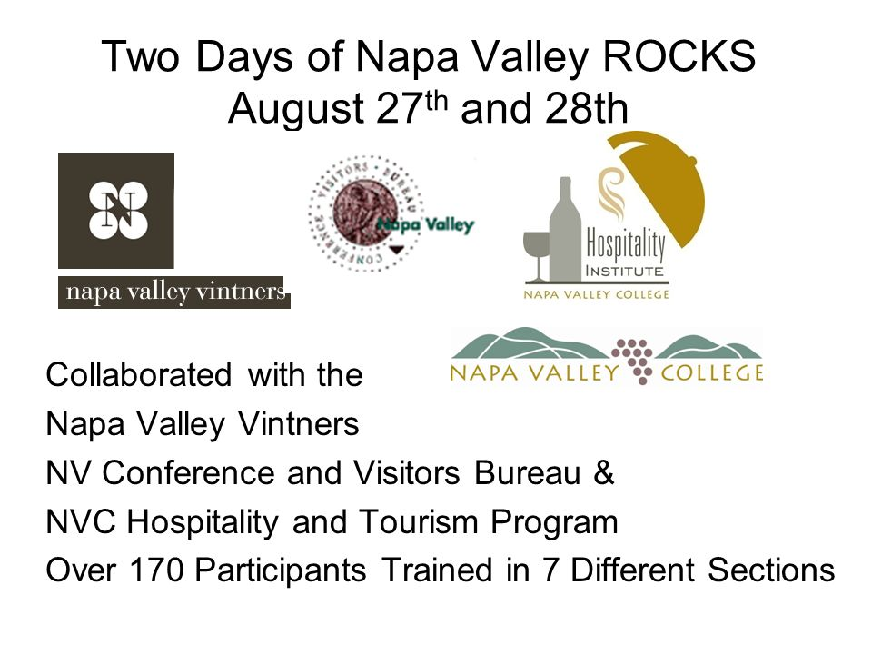 Two Days of Napa Valley ROCKS August 27 th and 28th Collaborated with the Napa Valley Vintners NV Conference and Visitors Bureau & NVC Hospitality and Tourism Program Over 170 Participants Trained in 7 Different Sections