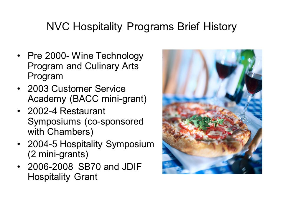 Hospitality Institute Series of Workshops  Food and Beverage Cost Control  Hospitality Marketing  Recruiting, Hiring and Retaining Employees  HR Best Practices – Job Descriptions, Policy Manuals and Evaluations  Restaurant Start-Up Roundtable