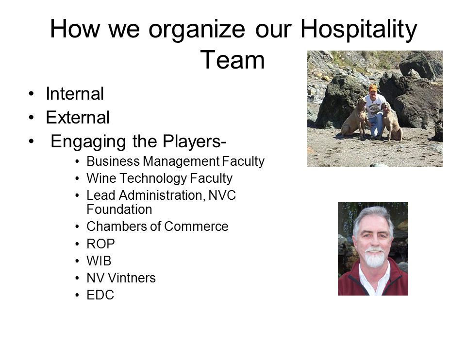 How we organize our Hospitality Team Internal External Engaging the Players- Business Management Faculty Wine Technology Faculty Lead Administration, NVC Foundation Chambers of Commerce ROP WIB NV Vintners EDC