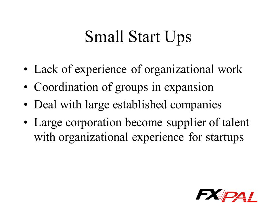Small Start Ups Lack of experience of organizational work Coordination of groups in expansion Deal with large established companies Large corporation