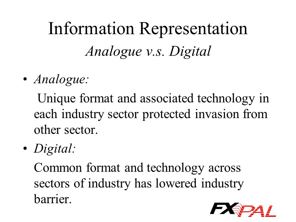 Information Representation Analogue v.s. Digital Analogue: Unique format and associated technology in each industry sector protected invasion from oth