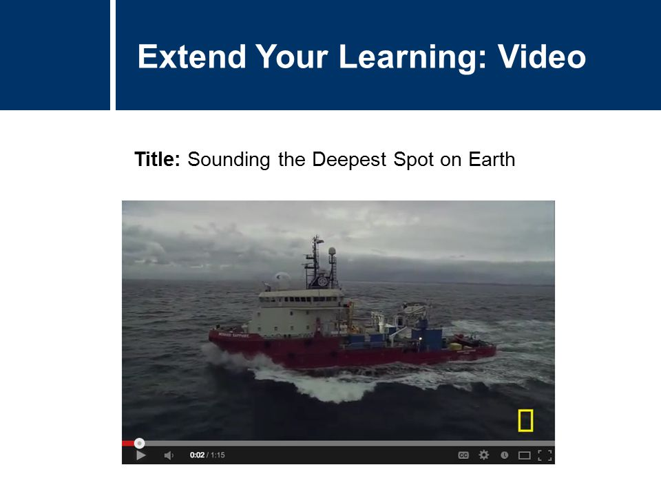 Extend Your Learning: Video Title: Sounding the Deepest Spot on Earth