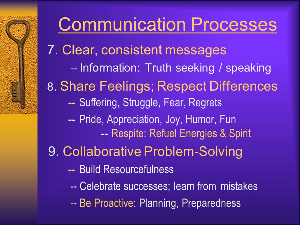 Communication Processes 7. Clear, consistent messages -- Information: Truth seeking / speaking 8.