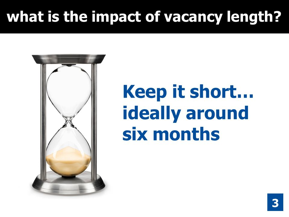 over 100 3 what is the impact of vacancy length? Keep it short… ideally around six months people living outside parish