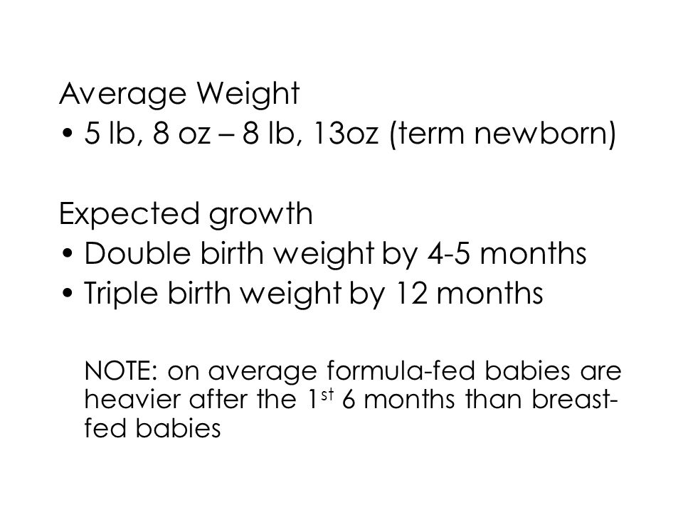 Average Weight 5 lb, 8 oz – 8 lb, 13oz (term newborn) Expected growth Double birth weight by 4-5 months Triple birth weight by 12 months NOTE: on average formula-fed babies are heavier after the 1 st 6 months than breast- fed babies