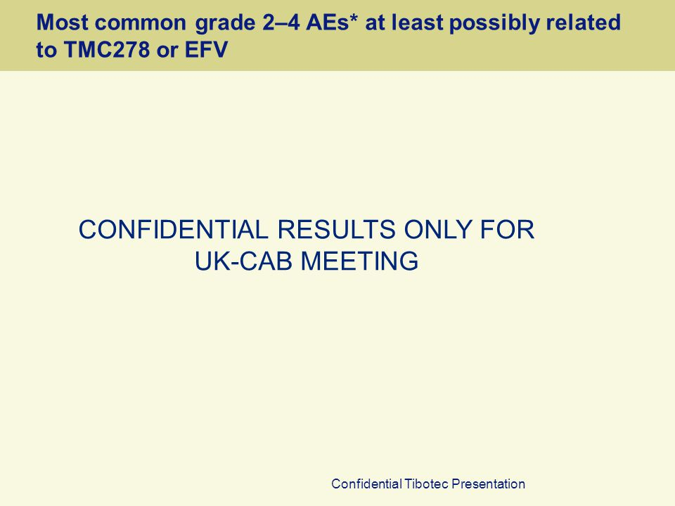 Confidential Tibotec Presentation Most common grade 2–4 AEs* at least possibly related to TMC278 or EFV CONFIDENTIAL RESULTS ONLY FOR UK-CAB MEETING