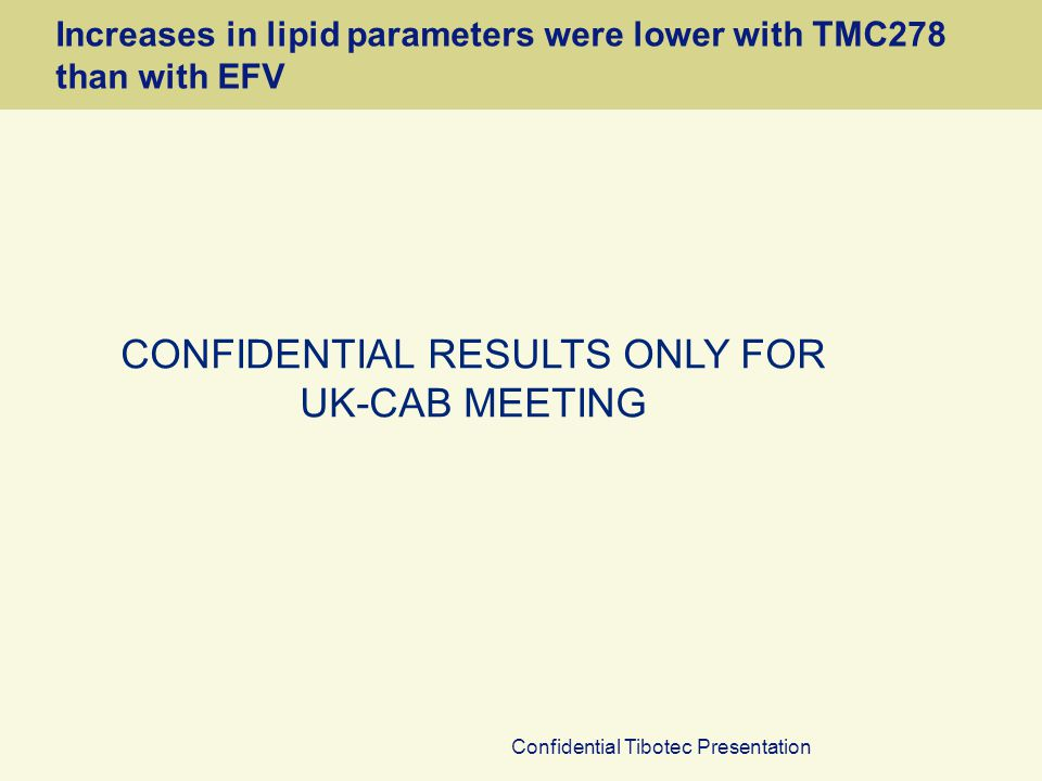 Confidential Tibotec Presentation Increases in lipid parameters were lower with TMC278 than with EFV CONFIDENTIAL RESULTS ONLY FOR UK-CAB MEETING