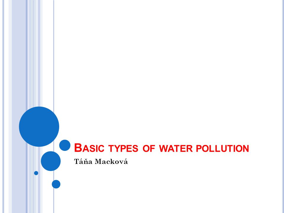 B ASIC TYPES OF WATER POLLUTION Táňa Macková
