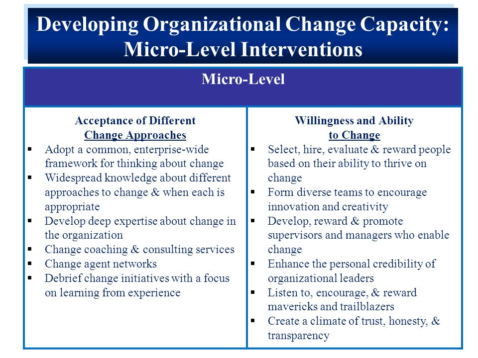 Micro-Level Acceptance of Different Change Approaches  Adopt a common, enterprise-wide framework for thinking about change  Widespread knowledge about different approaches to change & when each is appropriate  Develop deep expertise about change in the organization  Change coaching & consulting services  Change agent networks  Debrief change initiatives with a focus on learning from experience Willingness and Ability to Change  Select, hire, evaluate & reward people based on their ability to thrive on change  Form diverse teams to encourage innovation and creativity  Develop, reward & promote supervisors and managers who enable change  Enhance the personal credibility of organizational leaders  Listen to, encourage, & reward mavericks and trailblazers  Create a climate of trust, honesty, & transparency Developing Organizational Change Capacity: Micro-Level Interventions Developing Organizational Change Capacity: Micro-Level Interventions
