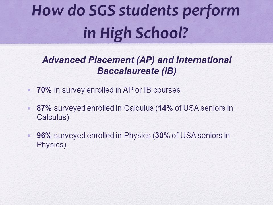 How do SGS students perform in High School.