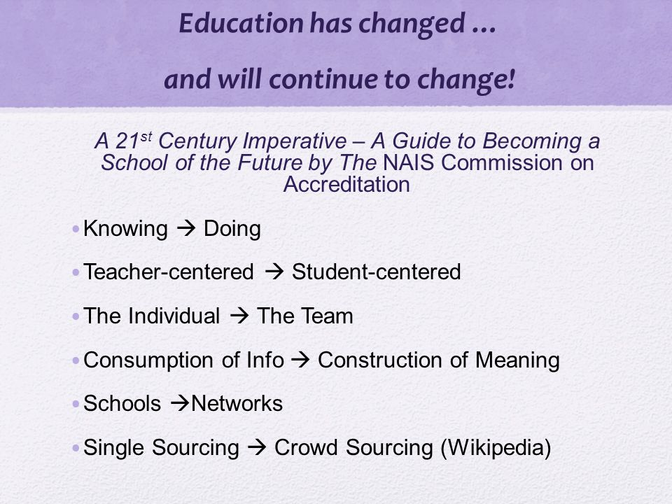 Education has changed … and will continue to change.