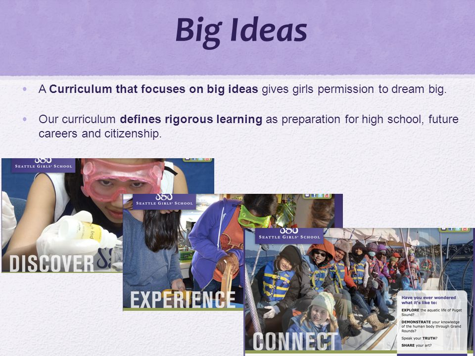 Big Ideas A Curriculum that focuses on big ideas gives girls permission to dream big.