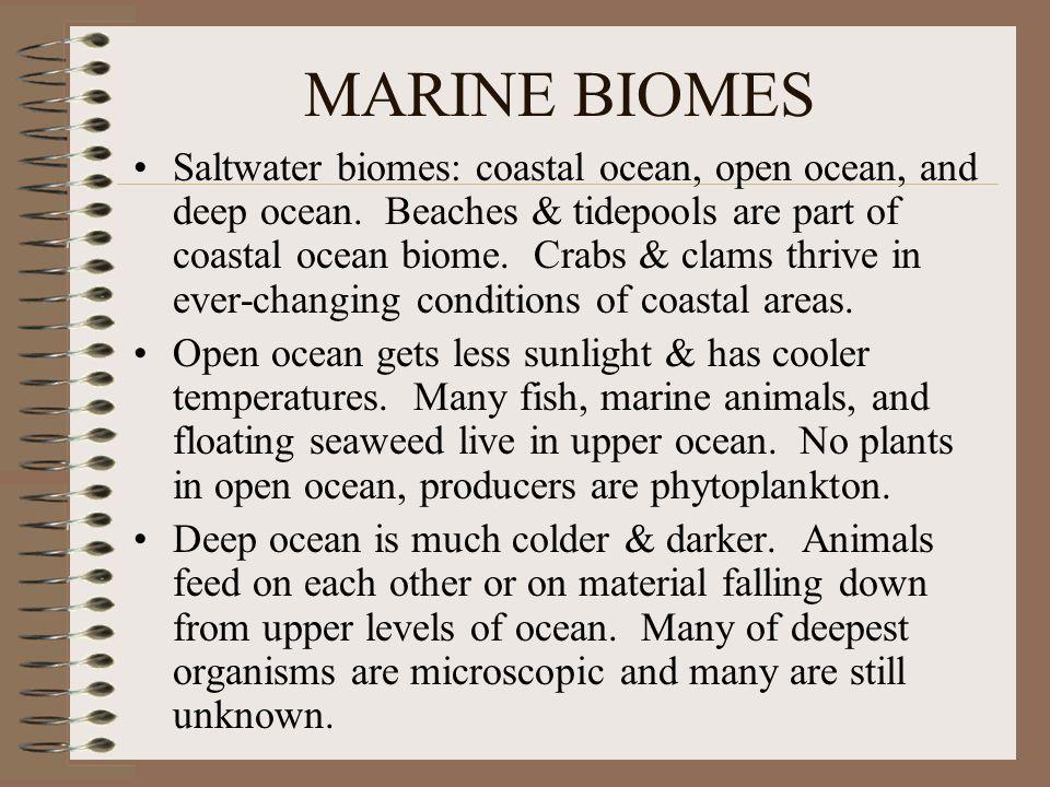 MARINE BIOMES Saltwater biomes: coastal ocean, open ocean, and deep ocean.