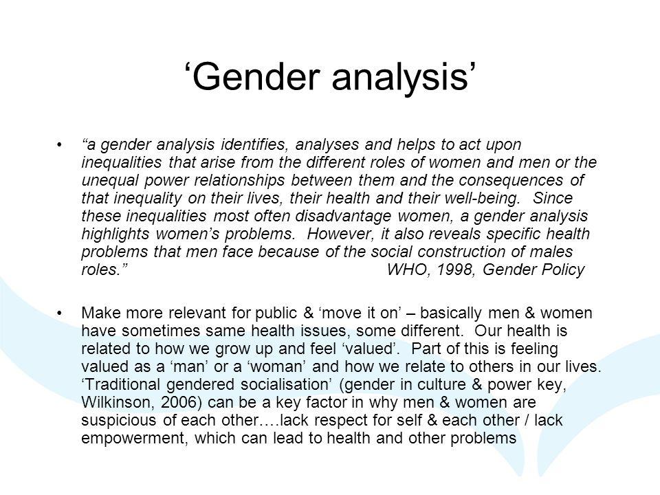 GGC History - Gender 20 years women's health, 10 years men's health, last 5 years increased focus gender/relational approach (Sabo, 1999; White, 2006; Payne, 2006).