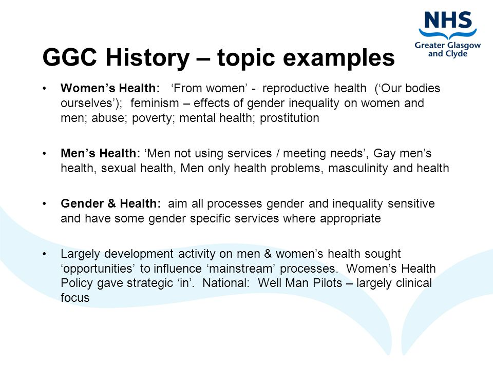 GGC Women's Health Policy Women's Health Policy, 1992 (3 rd version 2003) Why women's health.