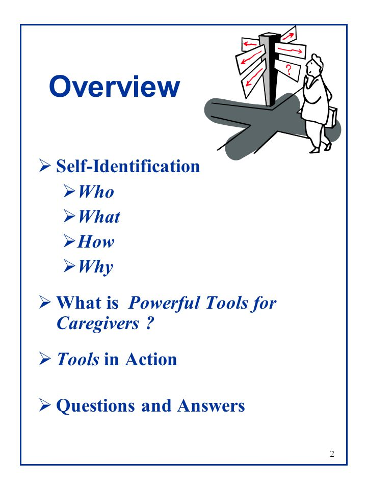 2 Overview  Self-Identification  Who  What  How  Why  What is Powerful Tools for Caregivers .