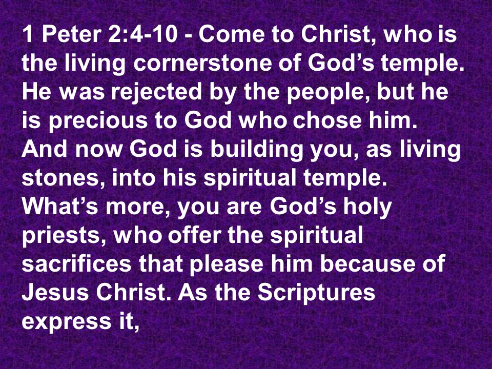 I am placing a stone in Jerusalem, a chosen cornerstone, and anyone who believes in him will never be disappointed. Yes, he is very precious to you who believe.