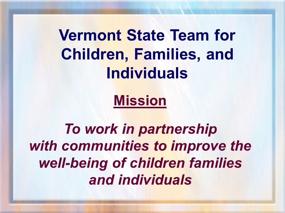 2003 Community Profile For the Community Served by: Lamoille North Supervisory Union Prepared By: Vermont Agency of Human Services Planning Division www.ahs.state.vt.us
