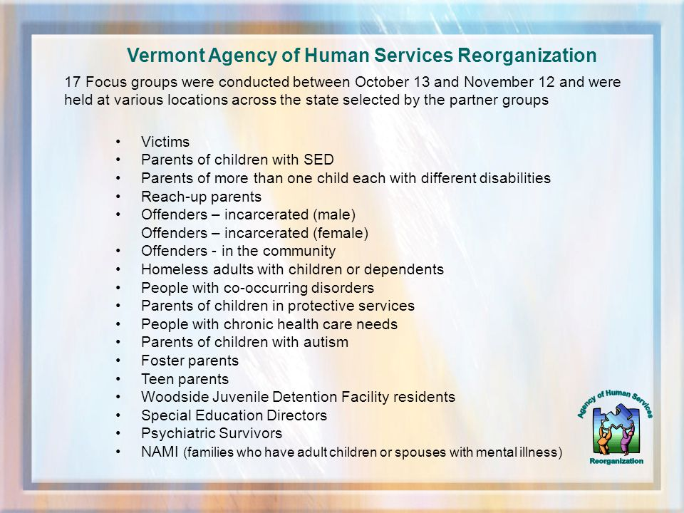 VT Association of Regional Partnerships Regional Partnerships are working closely with the State Team for Children, Families and Individuals to support new ways of improving the well-being of Vermonters.