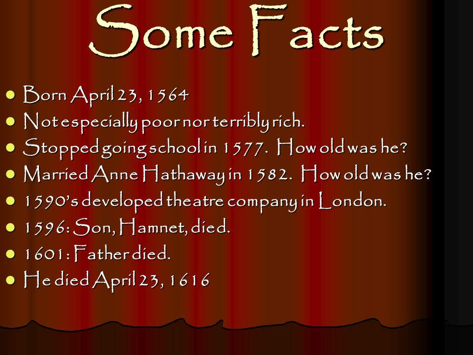 Some Facts Born April 23, 1564 Born April 23, 1564 Not especially poor nor terribly rich. Not especially poor nor terribly rich. Stopped going school
