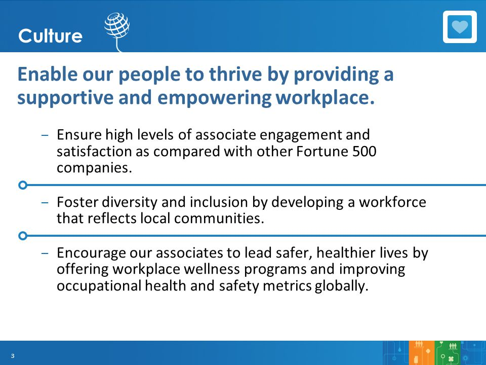 3 Enable our people to thrive by providing a supportive and empowering workplace. – Ensure high levels of associate engagement and satisfaction as com